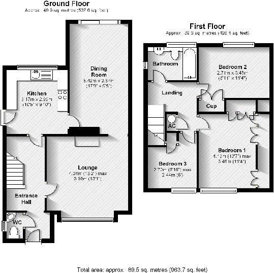 Semi Detached Floor Plans: 3 Bedroom Semi Detached House Plans Uk