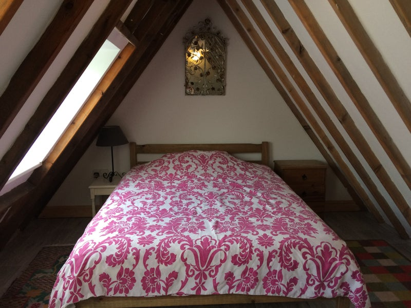 attic room with double bed and ensuite shower loo microwave cutlery etc your own lounge area and separate entrance parking for small car